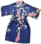 SunnyWorld Kids' Peacock Satin Rayon Kimono Robe Bathrobe Nightgown