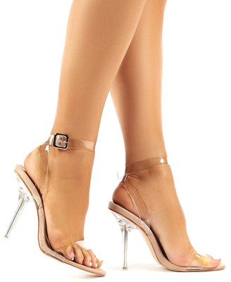 Public Desire Highlight Faux Suede Strappy Perspex Stiletto Heels