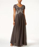 J Kara Embellished Bodice Chiffon Gown