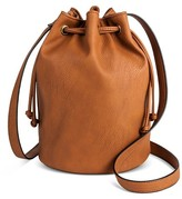 Mossimo Women's Drawstring Crossbody Bucket Faux Leather Handbag