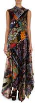 Erdem Patchwork Floral Velvet Silk Handkerchief-Hem Dress
