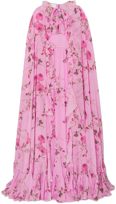 Giambattista Valli Cape-effect Ruffled Floral-print Silk-georgette Gown