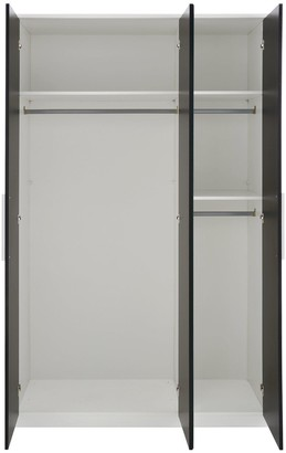 Messina 4 PieceGloss Package -3 Door Mirrored Wardrobe, 5 Drawer Chest, 2Bedside Chests - White/Black