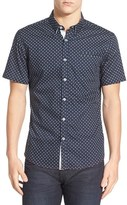 7 Diamonds Men's 'Dawn' Trim Fit Short Sleeve Print Woven Shirt