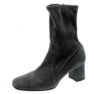 Prada Grey Velvet Boots