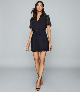 Reiss SAM EMBROIDERED CHIFFON DRESS Navy