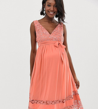 Little Mistress Maternity contrast lace full prom midi skater dress in coral