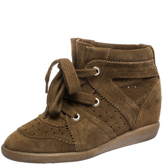 Isabel Marant Brown Suede Leather Bobby Wedge Lace Up Sneakers Size 37