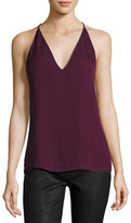 Haute Hippie Mirage Sleeveless Strappy Silk Tank, Fig