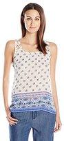 Blu Pepper Women's Allover Border Print Crochet Back Tank Top