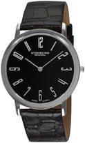 Stuhrling Original Sthrling Original Mens Black Dial Alligator-Look Black Leather Strap Watch