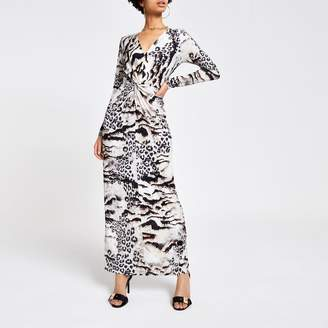 River Island Womens Brown animal print maxi dress