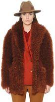 Trussardi Suede & Mongolian Fur Coat