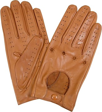 Forzieri Men's Tan Italian Leather Driving Gloves