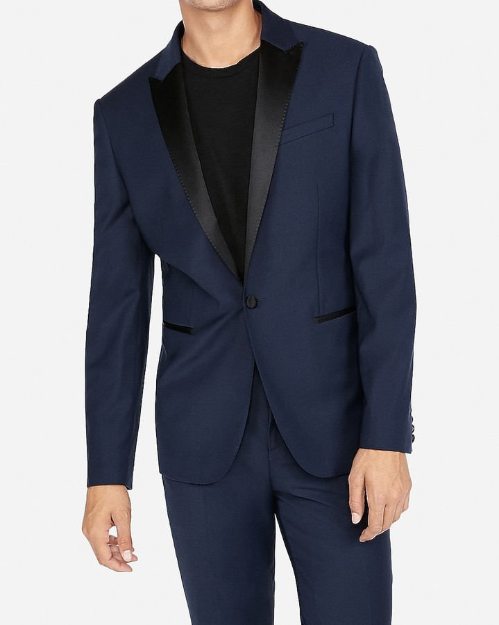 Express Slim Navy Wool-Blend Performance Stretch Tuxedo Jacket
