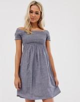 Pimkie shirred jersey dress in blue