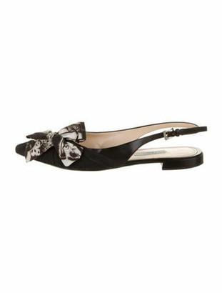Prada Printed Bow Accents Slingback Flats Black