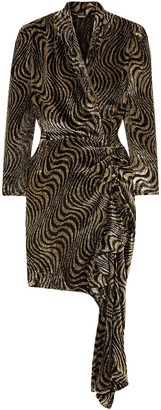 Dodo Bar Or Wrap-effect Ruched Metallic Velvet-jacquard Mini Dress