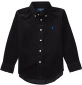 Ralph Lauren Long-Sleeve Cotton Corduroy Shirt, Black, Size 2-7