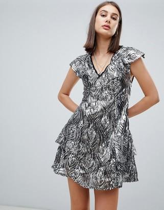 Religion purity metallic sequin shift dress-Silver