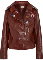 Christopher Kane Cropped Embroidered Leather Biker Jacket - Brick