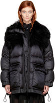 Sacai Black Down Fur Collar Jacket
