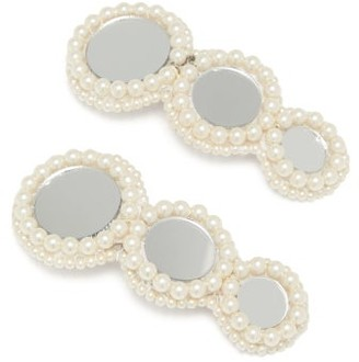 Magnetic Midnight - Pearl And Mirror-embellished Hair Clips - Womens - White