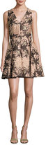 Alice + Olivia Willow Sleeveless Pleated Floral Jacquard Fit-and-Flare Dress, Multicolor