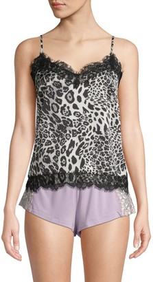 BB Dakota Snow Leopard-Print Lace-Trimmed Camisole