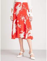 Alice + Olivia Alice & Olivia Nanette floral-print silk-satin midi skirt