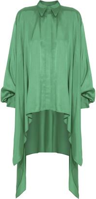 LADO BOKUCHAVA Asymmetric Satin High-Low Tunic Shirt