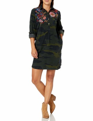 3J Workshop by Johnny was Women's Camo Printed Collared Tunic Dress with Embroidery