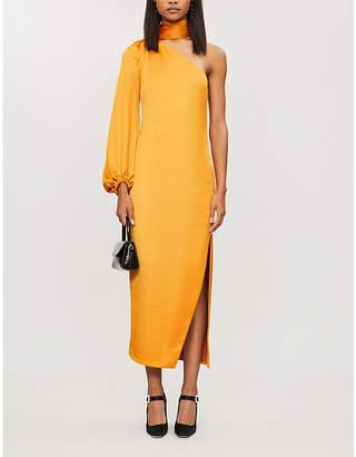 STAUD One-shoulder side-split stretch-crepe midi dress