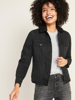 Old Navy Sherpa-Lined Black Jean Jacket for Women