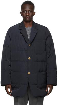 Thom Browne Navy Down Oversized RWB Stripe Sack Jacket