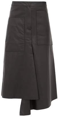 Tibi Asymmetric Leather Midi Skirt - Womens - Black