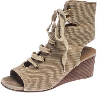Chloé Beige Canvas Ghillie Lace Up Wedge Sandals Size 36