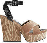 Sergio Rossi Hannelore Velvet/Leather Wedges