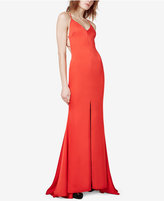 Fame and Partners Strappy-Back Fishtail Slit Gown
