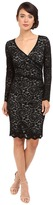 Nicole Miller Floral Stretch Lace Long Sleeve Dress