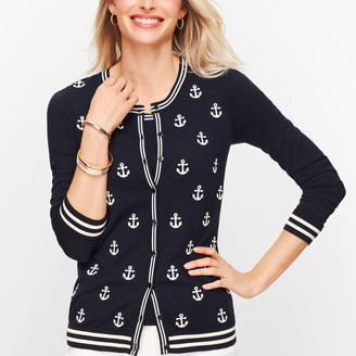 Talbots Charming Cardigan - Embroidered Anchors