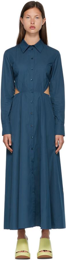Nina Ricci Blue Button-Down Cut-Out Dress