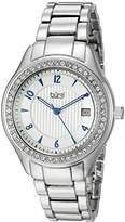 Burgi Women's BUR135SS Swarovski Crystal Accented Embossed Dial Silver Bracelet Watch