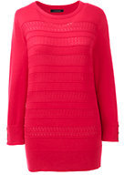 Lands' End Women's Tall Supima 3/4 Sleeve Texture Sweater-Crimson Dawn
