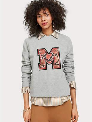 Maison Scotch Chest Artwork Sweater grey melange - xs   grey - Grey/Grey