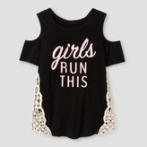 """Miss Chievous Girls' Cold Shoulder """"Girls Run This"""" Top with Natural Crochet - Black"""