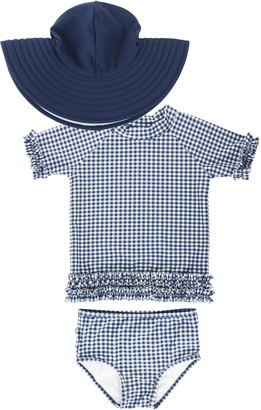 RuffleButts Gingham Ruffle Two-Piece Swimsuit & Hat Set