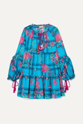 Anjuna - Tiered Printed Cotton-voile Mini Dress - Blue