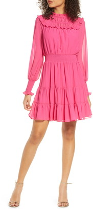Harlyn Gathered Ruffle Long Sleeve Minidress
