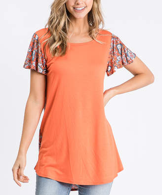 Cool Melon Women's Tunics Orange - Orange Scarf Print-Contrast Butterfly-Sleeve Tunic - Women & Plus
